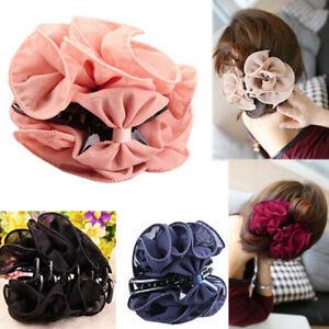 Fashion Womens Chiffon Rose Flower Bow Jaw Clip Barrette Hair Claw Gift Hoyu JG