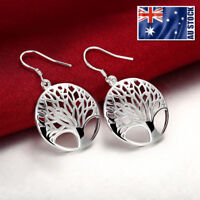 Women 925 Sterling Silver Filled Tree of Life Drop Dangle Earrings Stunning Gift