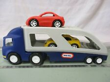 Little Tikes Blue Semi Truck Car Carrier Hauler Tractor Yellow Red Cars Vintage