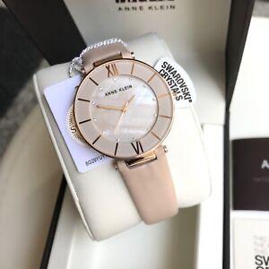 Anne Klein Watch * 3272RGLP MOP Swarovski Rose Gold Light Pink Leather Strap