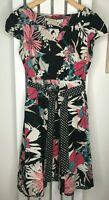 MONSOON Tea Dress Vintage Style Midi Black Floral Print Layered Belt UK16 EUR44