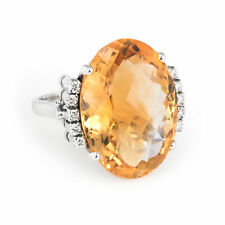 Large Citrine Diamond Cocktail Ring Vintage 18k White Gold Estate Fine Jewelry