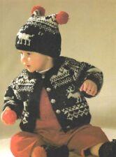 Knitting Pattern Baby's Cute DK Xmas Fair Isle Cardigan, Hat & Boots (124)