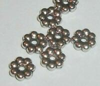100 Antique silver plated pewter 6x2mm flower rondelle shaped spacer beads 10443