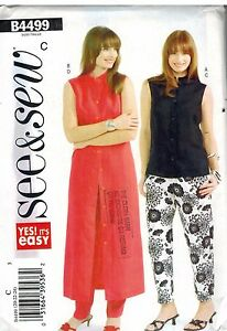 4499 Butterick SEWING Pattern Misses EASY Dress Sleeveless Top Pants See & Sew