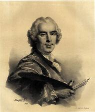Portrait du Peintre Joseph Vernet Grande Lithographie originale XIXème