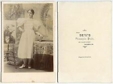 YOUNG LADY - PAINTING ON WOOD EISEL BY BEWS, COLUMBIA, PA, ANTIQUE CABINET PHOTO