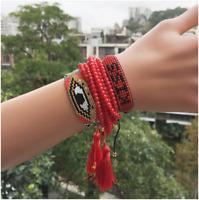 MIYUKI Bracelet Red Evil Eye Bracelet Kiss Jewelry Evil Eye Pulsera Crystal