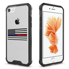 For iPhone Clear Shockproof Case American Flag Blue Red Line Police Firefighter