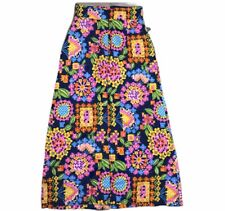 Vtg 60-70's Psychedelic MoD Fractal Flowers Power Hippie Barkcloth Maxi Skirt 28