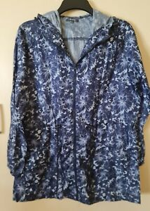 LADIES BLUE AND WHITE  LIGHTWEIGHT PARKER STYLE HOODED COAT SIZE 12/14