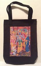 Hindu themed Tote Bag approx 8 x 10 inch lined in Black cotton material NEW