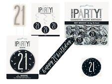 21st Birthday Black & Silver Birthday Party Decoration 12 Decor Balloons Banner