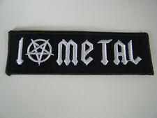 I LOVE METAL PATCH Embroidered Iron On Badge Pentagram Heavy Black & White NEW