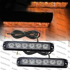 2x 6 LED 6W Emergency Grill Bumper Marker Flash Strobe Light Yellow Amber