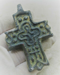 DETECTOR FINDS ANCIENT BYZANTINE BRONZE CRUSADERS CROSS PENDANT