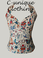 C-unique Natural Tattoo Halter top rockabilly 50s pinup Uk8-24 Rockabilly Skull