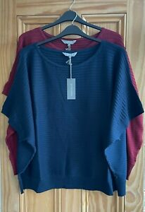 EX PRINCIPLES NEW Navy Blue Red Ribbed Batwing Jumper Top Plus Size 20 - 26