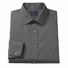 Big & Tall Spread-Collar No-Iron Dress Shirt 19 34/5T LS Charcoal NWT $64.50