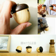 Portable Mini Wireless Nuts Bluetooth Speaker Stereo Sound With Sling Wood Grain