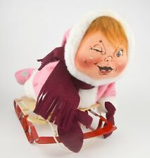 Annalee Mobilitee Doll 5706 Christmas Young Girl Child on Sleigh Snow Sled 1990