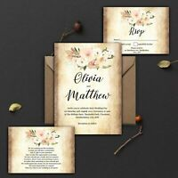 WEDDING INVITATIONS Personalised Vintage Rustic Blush Ivory And Peach PK 10