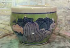 Vintage Asian Green and White Porcelain Planter Bowl w/Hand Painted Fruit Design