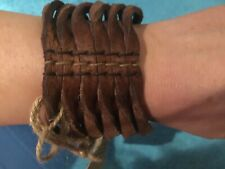 BNWT Retro FAT FACE Ladies Twisted Leather Cuff Brown Chocolate Bangle WRISTLET