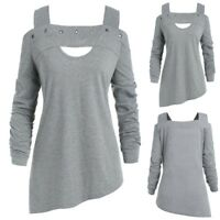 Women Long Sleeve Strapless Off Shoulder T Shirt Ladies Loose Casual Tops Blouse