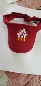 Vtg ADIDAS maroon Headsweat Sun Visor Adjustable Cotton Embroidered Logo UNISEX