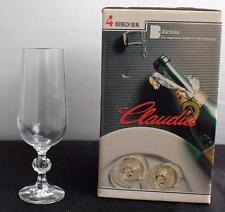 New Box BOHEMIA CLAUDIA Set 4 Crystal Champagne 180 ml Flute Czechoslovakia