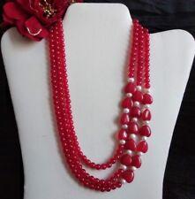 Collar 3 Fili Perlas y los corazones de rubí y perlas Cultivada - Estupenda
