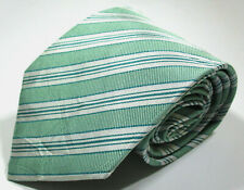 Hermes Paris 758786T Striped Pattern Green Color Silk Necktie Tie Made In France