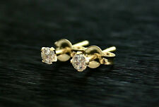 9ct yellow gold delicate White Cz 3mm stud earrings