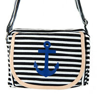 Ella Jonte Tasche Anker Streifen schwarz weiß blau Rockabilly maritim Handtasche