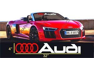 """Audi Windshield Decal Sticker 23"""" A3 A4 A5 A6 A8 S4 S5 S6 RS4 Q3 Q5 Q7 TT R8"""