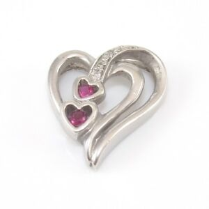 Sterling Silver Pink Ruby Natural Diamond Accent Heart Pendant