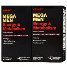2 BOXES-GNC MEGA MEN ENERGY & METABOLISM DIETARY 90 Ct (180 TOTAL) EXP:03/22