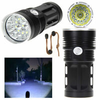 30000LM 12x CREE XM-L T6 LED Flashlight Torch 4x 18650 Hiking Hunting Light Lamp
