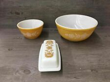 New listing 3 Pc Lot Pyrex Glass Dishes Butterfly Gold