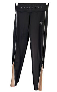 Pink Soda Sport Size 8 Tights Black With Sparkly Pink Bottom , Gym Activewear