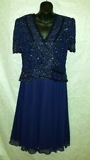 BRILLIANTE by J A NAVY BLUE BEADED LACE FORMAL/COCKTAIL DRESS SZ M