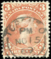 Used TORONTO Canada F+ Scott #25 3c EARLIER DATE 1868 Large Queen Issue Stamp