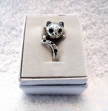 Cat Wrap Animal Ring Silver Platinum Adjustable Black Swarovski Crystals New