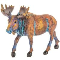 Textured Multi Colored Moose Carved Style, Rustic Wilderness Decor