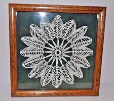 "Antique Professionally Framed Crocheted Dollie 11"" X 11"" Shadow Box"