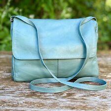"""Genuine Mexican Handmade Leather """"Teal Blue"""" Crossbody Shoulder Bag **Vintage**"""