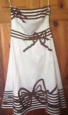 COAST CREAM WITH BROWN TRIM DETAIL  STRAP/LESS DRESS SIZE 10