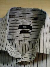 Mens Hugo Boss Grey Stripe Long Sleeve Cotton Slim Fit Shirt Size M