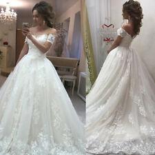 Schulterfrei Spitze Hochzeit Kleider Applikationen Übergröße Braut Ballkleider